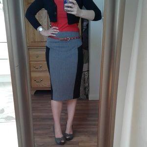Express High Waist Colorblock Zipper Pencil Skirt